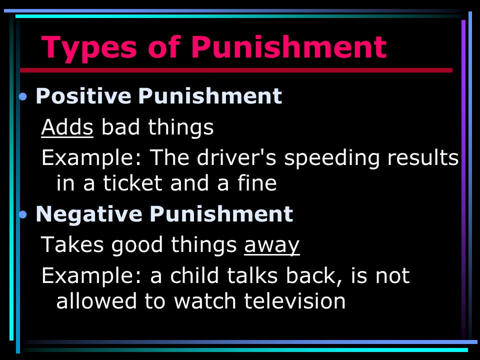 Types of Punishment Positive Punishment Adds bad things