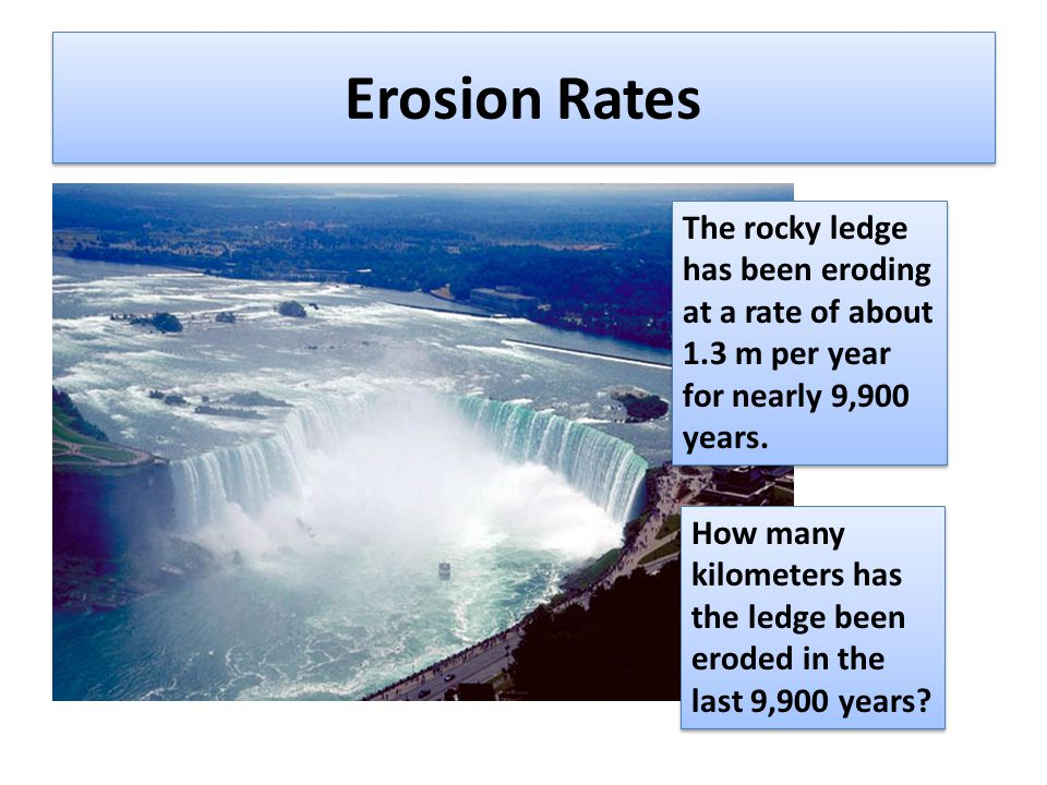 Erosion Rates The rocky ledge has been eroding at a rate of about