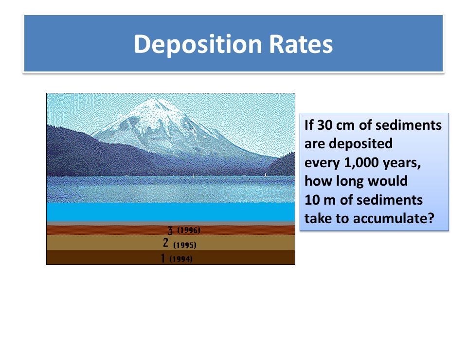 Deposition Rates If 30 cm of sediments are deposited