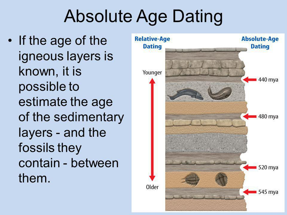 How is the isotope C used in the absolute dating of fossils
