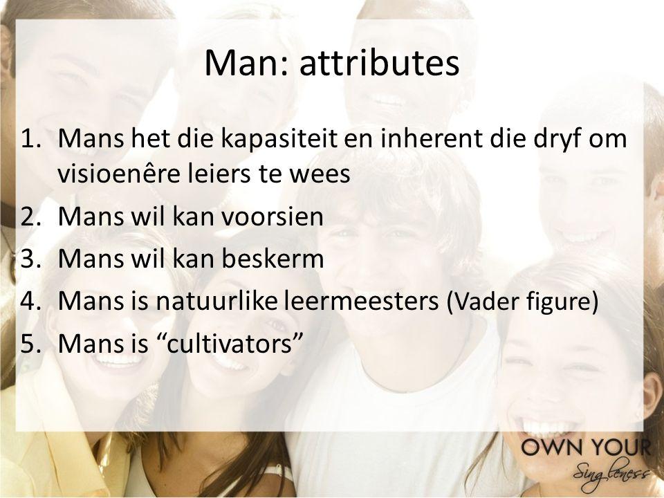 Man: attributes Mans het die kapasiteit en inherent die dryf om visioenêre leiers te wees. Mans wil kan voorsien.