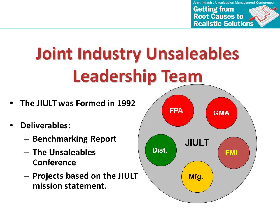 Joint Industry Unsaleables Leadership Team