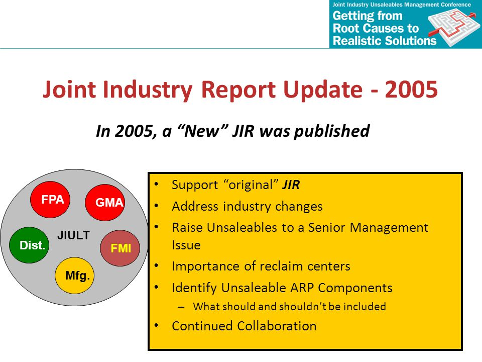 Joint Industry Report Update - 2005
