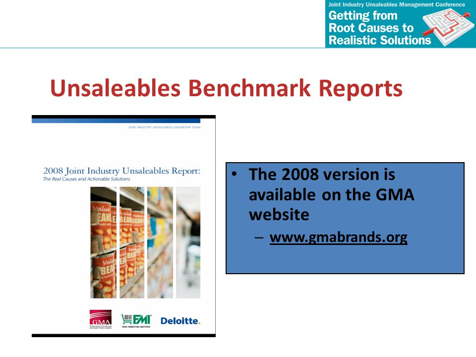 Unsaleables Benchmark Reports