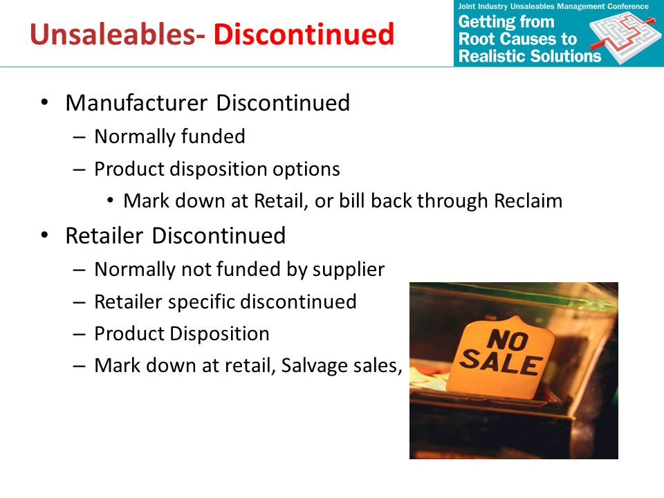 Unsaleables- Discontinued
