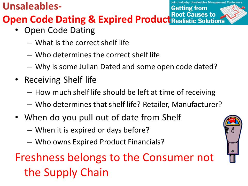 Unsaleables- Open Code Dating & Expired Product