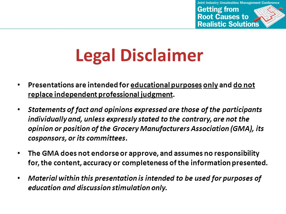Legal Disclaimer Presentations are intended for educational purposes only and do not replace independent professional judgment.