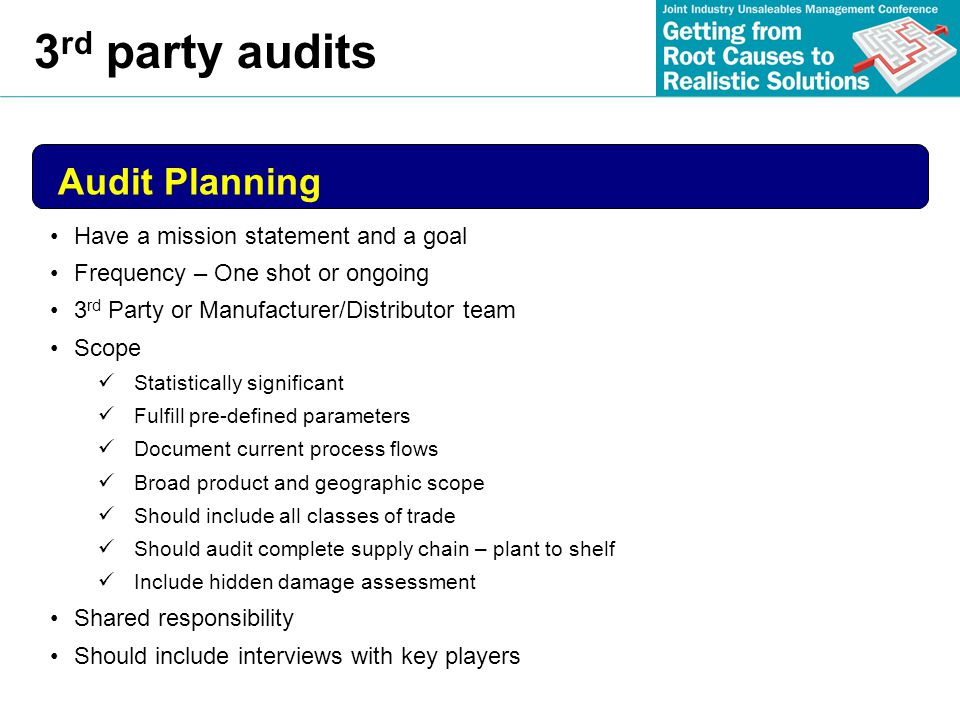 3rd party audits Audit Planning Have a mission statement and a goal