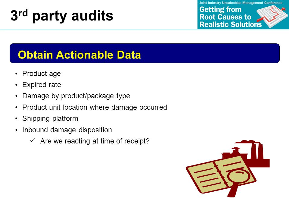 3rd party audits Obtain Actionable Data Product age Expired rate