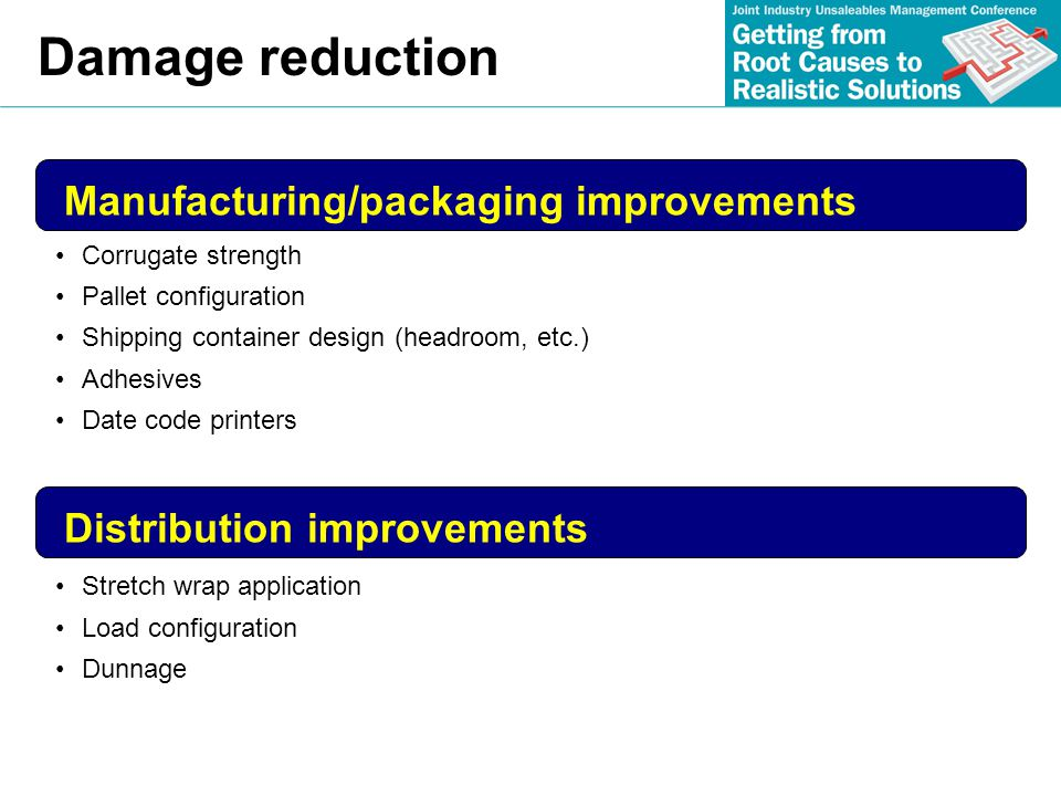 Damage reduction Manufacturing/packaging improvements