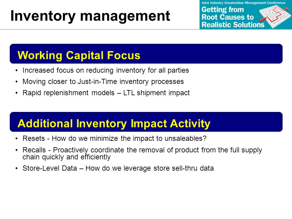 Inventory management Working Capital Focus