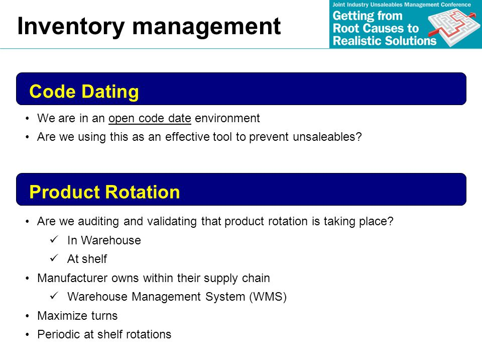 Inventory management Code Dating Product Rotation