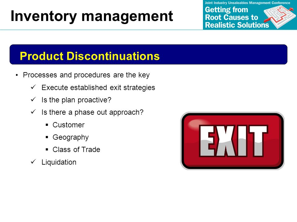 Inventory management Product Discontinuations