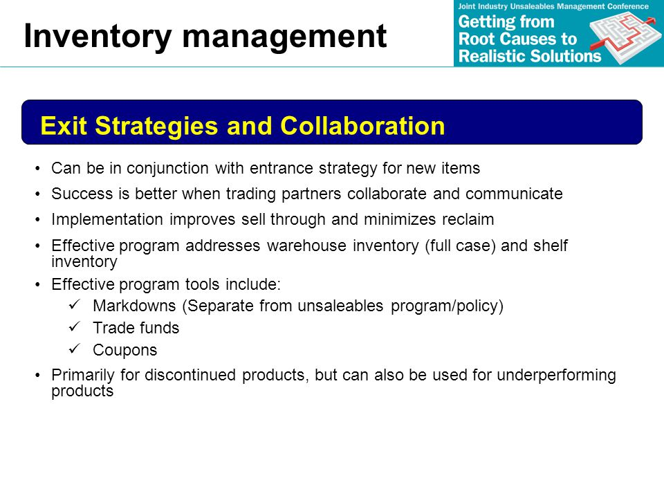 Inventory management Exit Strategies and Collaboration
