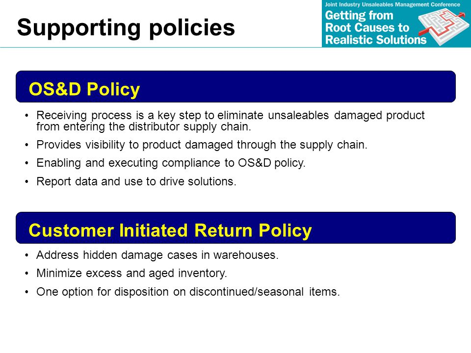 Supporting policies OS&D Policy Customer Initiated Return Policy