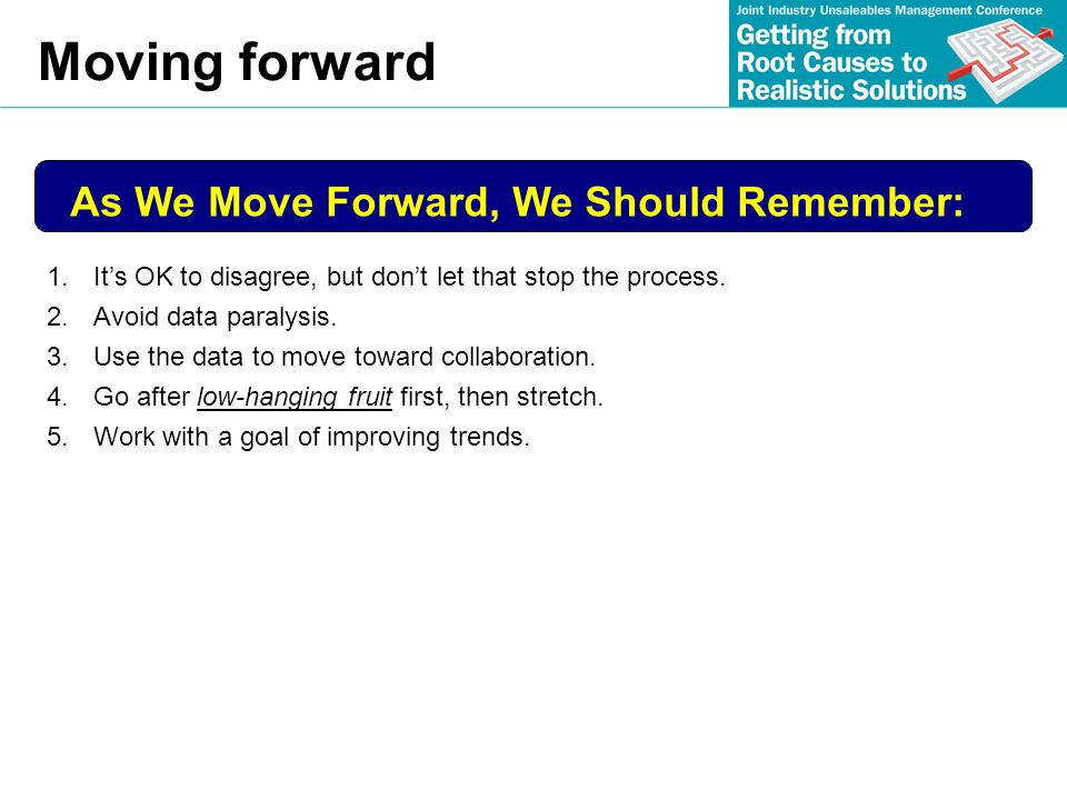 Moving forward As We Move Forward, We Should Remember: