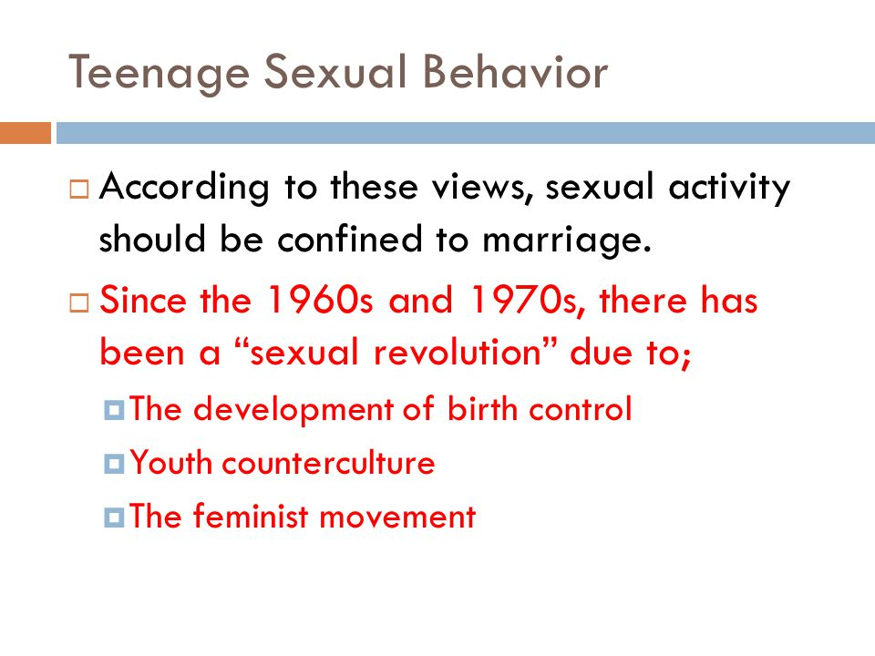 Teenage Sexual Behavior