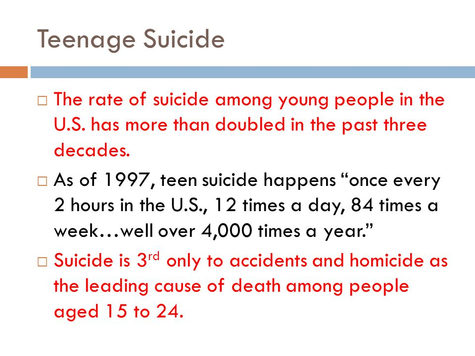 Teenage Suicide The rate of suicide among young people in the U.S. has more than doubled in the past three decades.