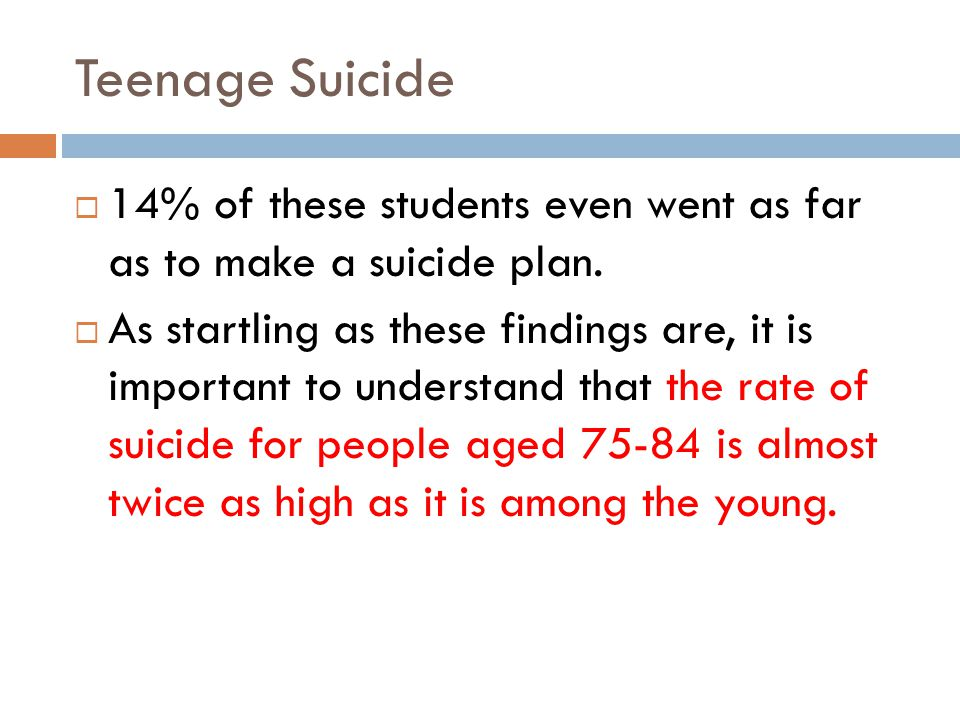 Teenage Suicide 14% of these students even went as far as to make a suicide plan.