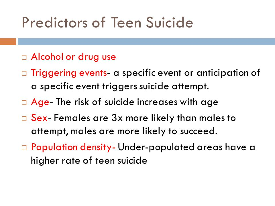Predictors of Teen Suicide