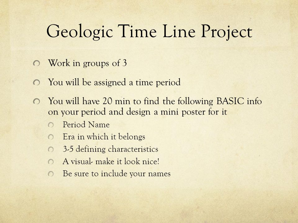 Geologic Time Line Project