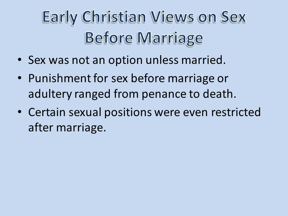Early Christian Views on Sex Before Marriage