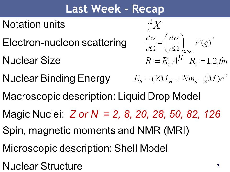 Last Week - Recap Notation units Electron-nucleon scattering