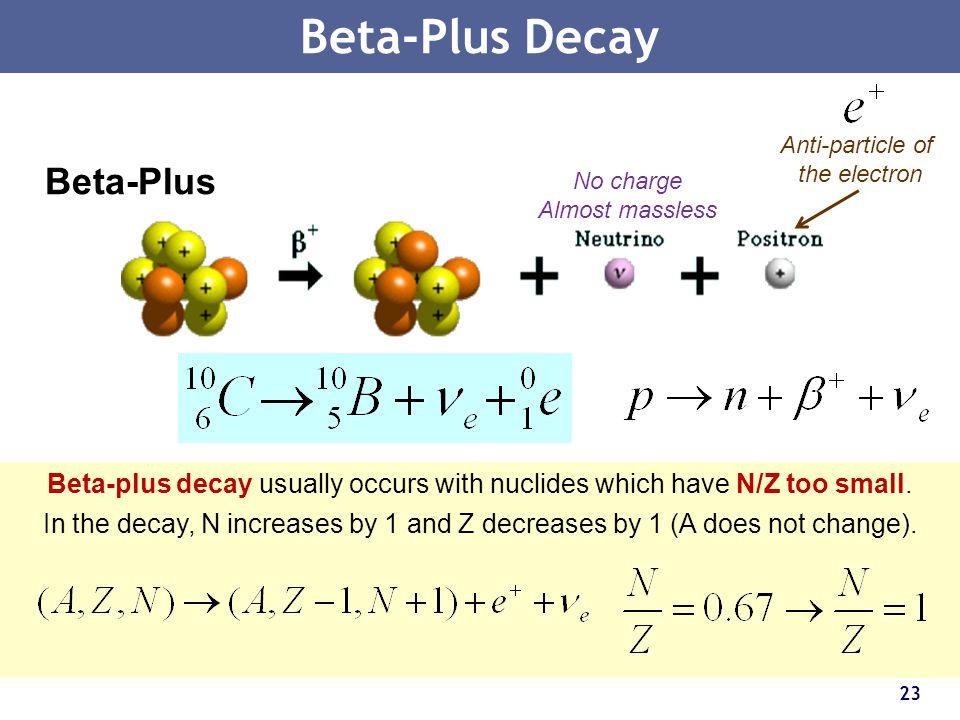 Beta-plus decay usually occurs with nuclides which have N/Z too small.