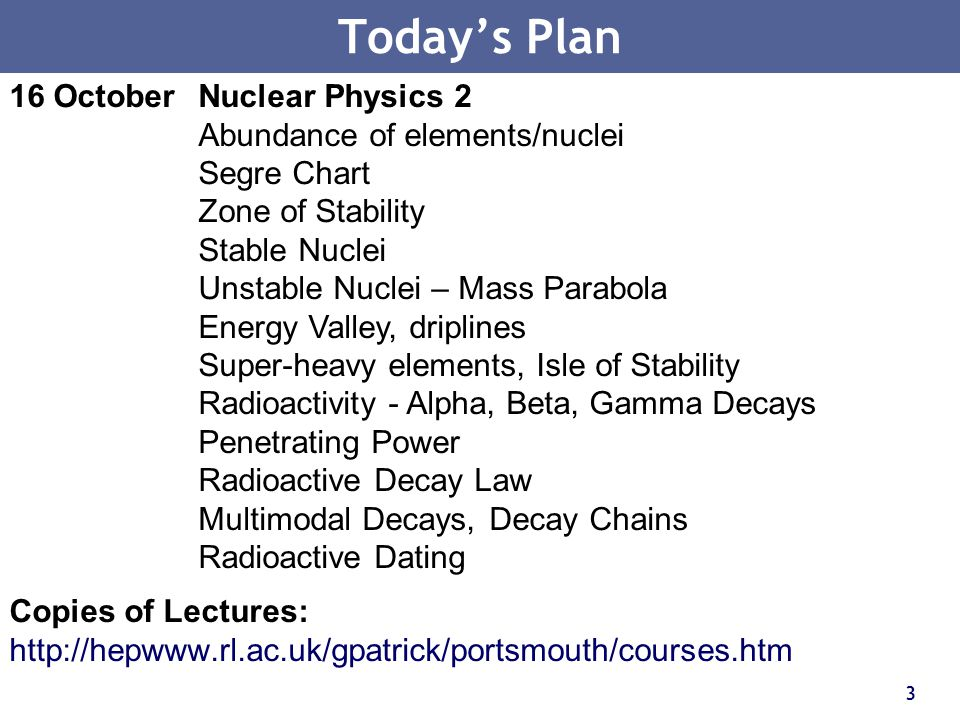 Today's Plan 16 October Nuclear Physics 2 Abundance of elements/nuclei