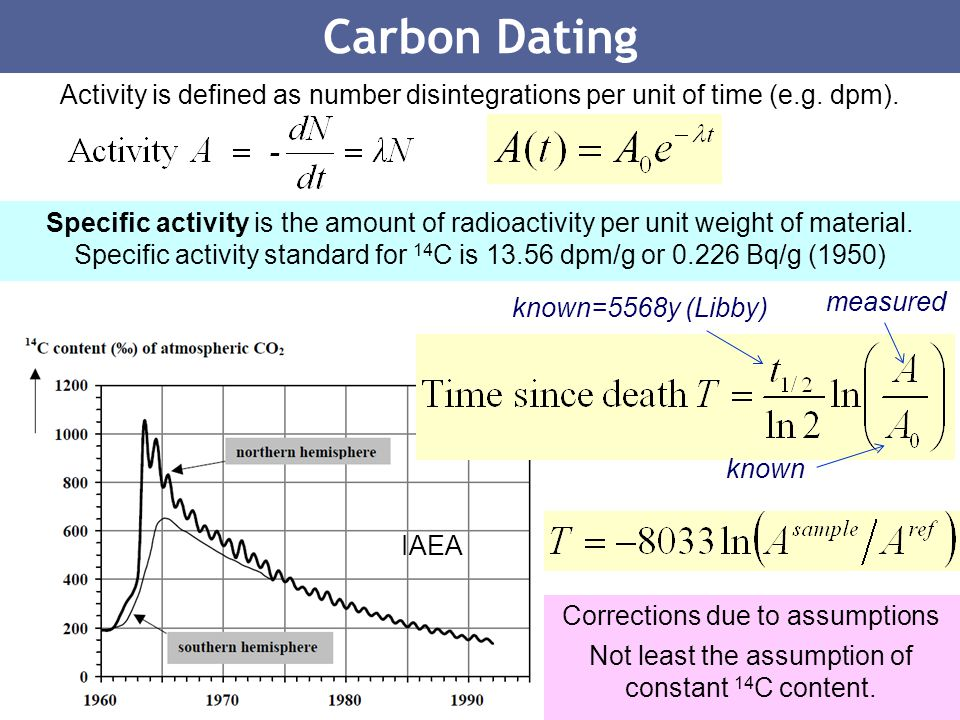 Carbon Dating Activity is defined as number disintegrations per unit of time (e.g. dpm).