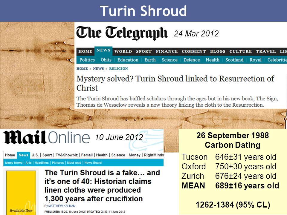 Turin Shroud 24 Mar 2012 26 September 1988 10 June 2012 Carbon Dating