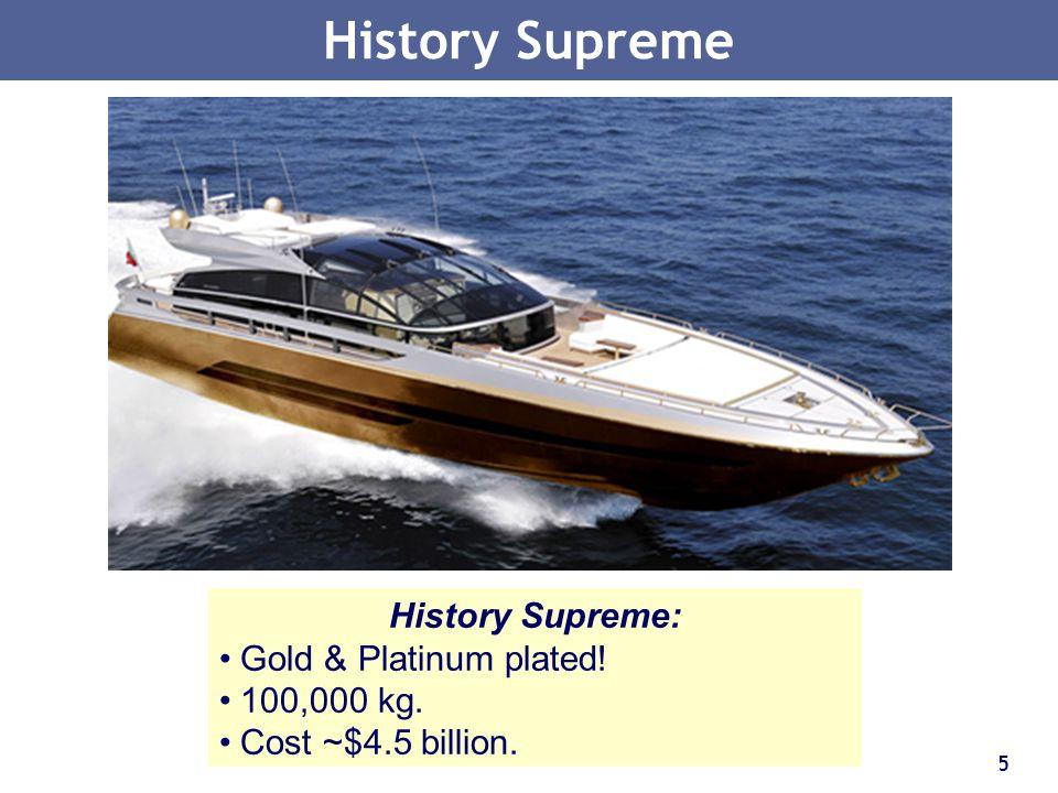 History Supreme History Supreme: Gold & Platinum plated! 100,000 kg.