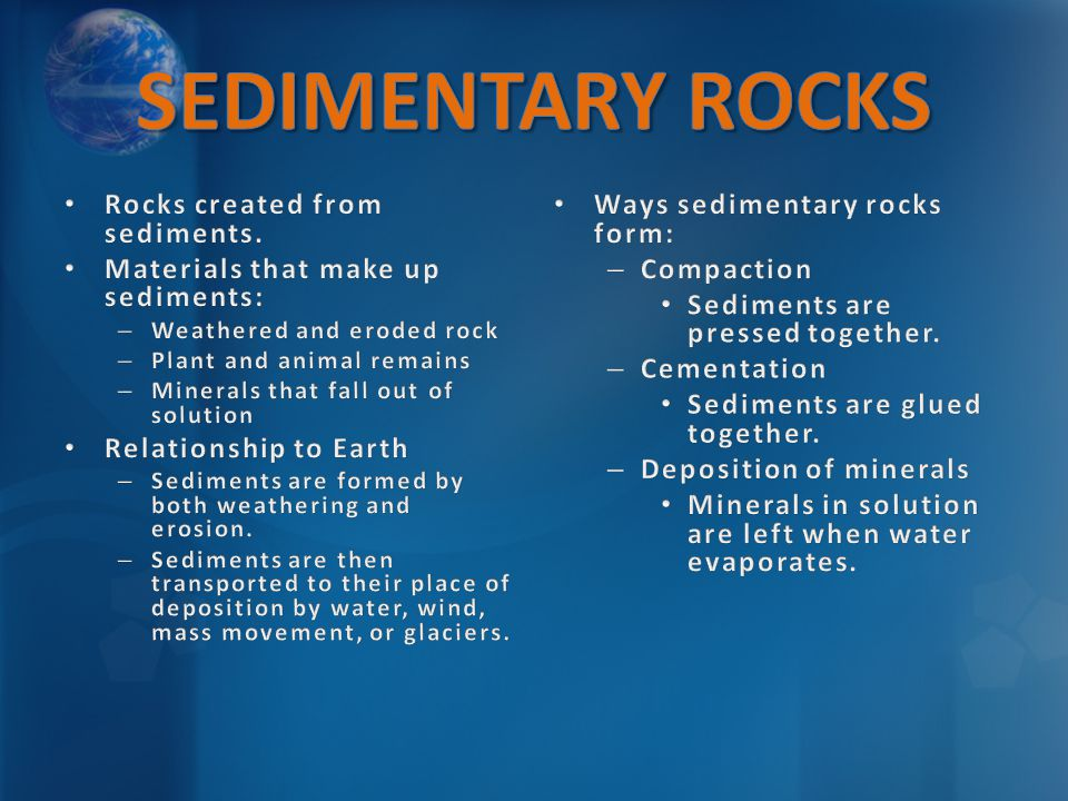 SEDIMENTARY ROCKS Rocks created from sediments.