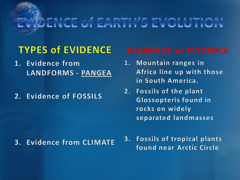 EVIDENCE of EARTH'S EVOLUTION