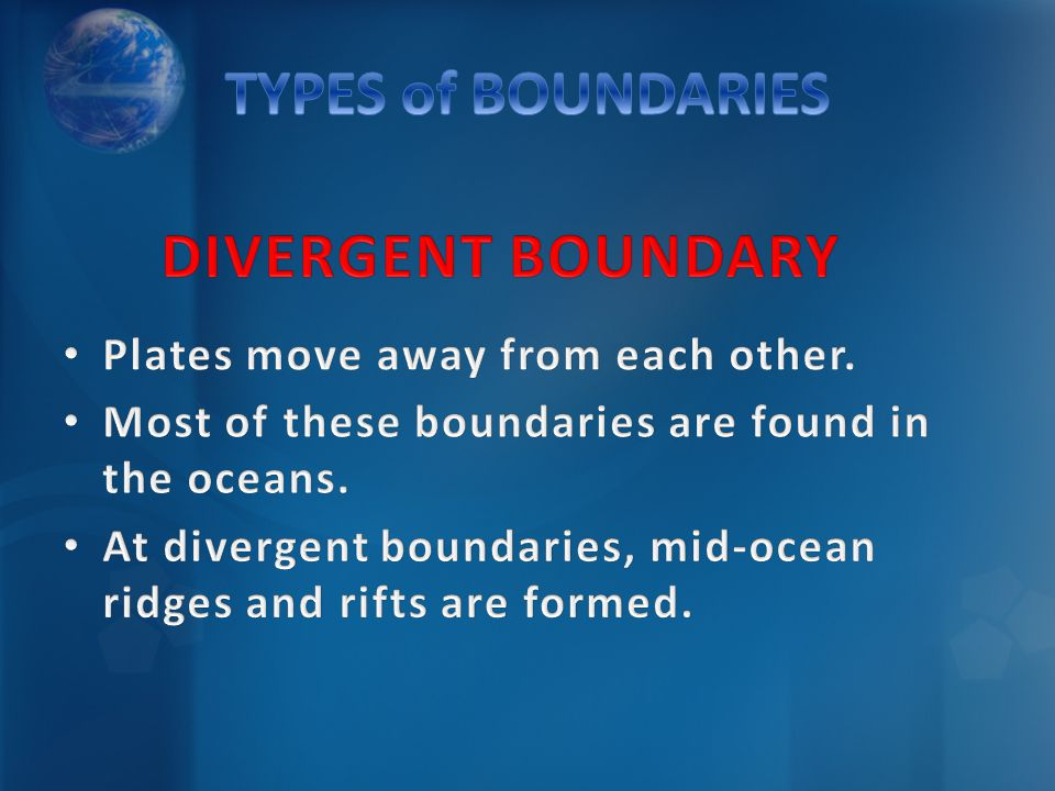 TYPES of BOUNDARIES DIVERGENT BOUNDARY