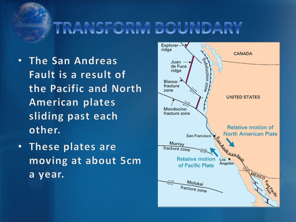 TRANSFORM BOUNDARY The San Andreas Fault is a result of the Pacific and North American plates sliding past each other.