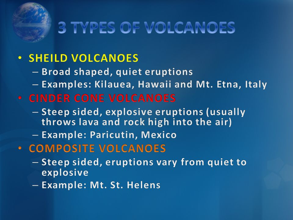 3 TYPES OF VOLCANOES SHEILD VOLCANOES CINDER CONE VOLCANOES
