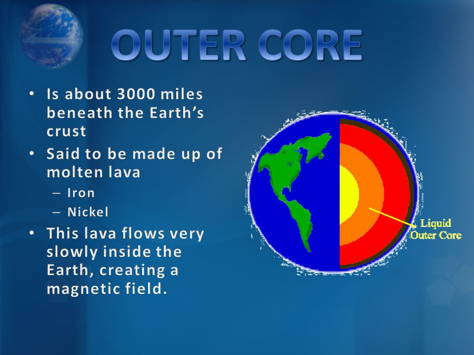 OUTER CORE Is about 3000 miles beneath the Earth's crust