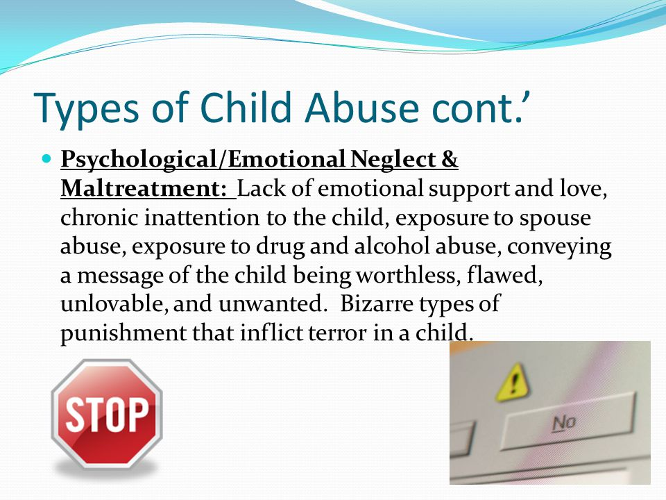 Types of Child Abuse cont.'