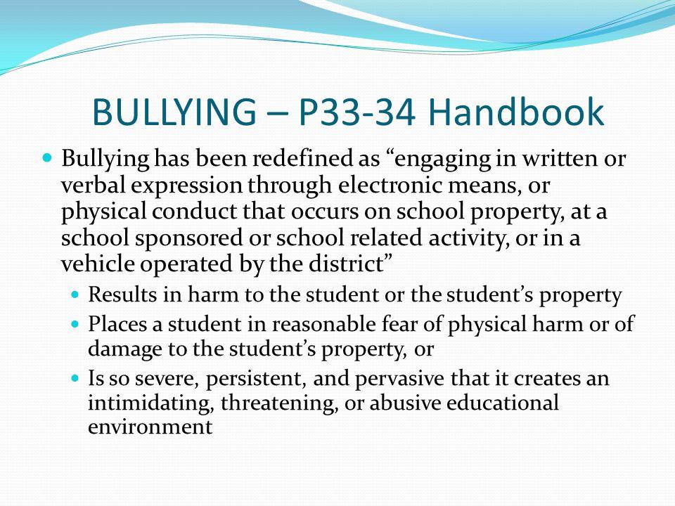 BULLYING – P33-34 Handbook