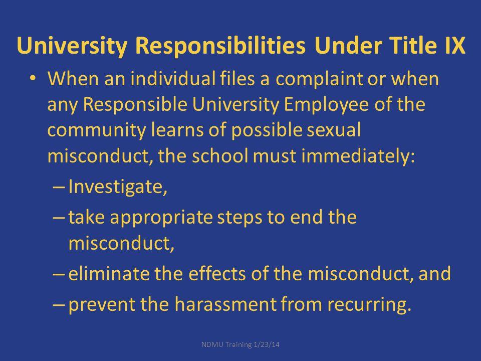 University Responsibilities Under Title IX