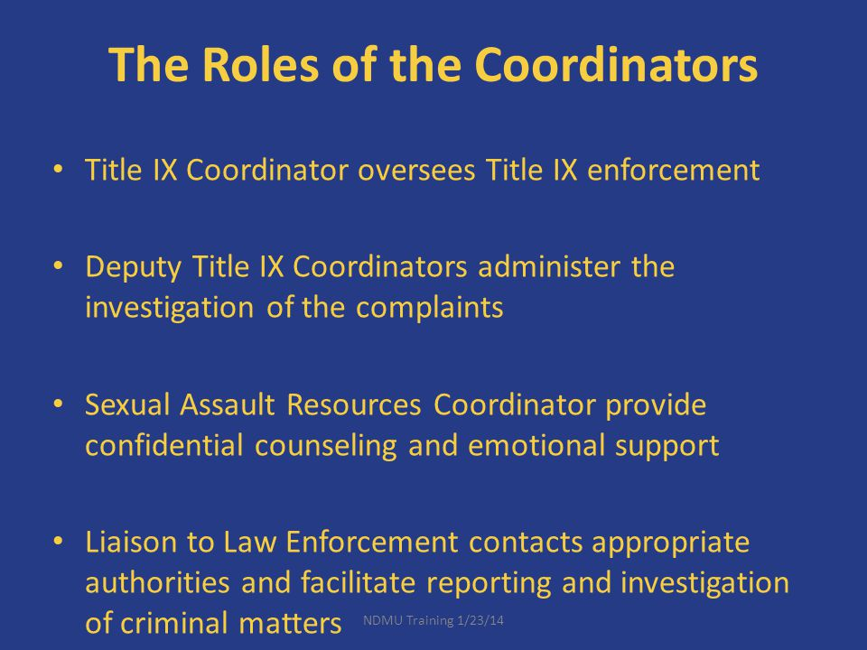 The Roles of the Coordinators