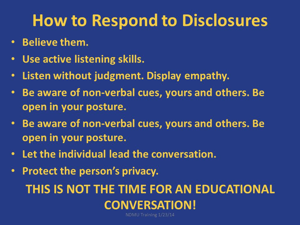 How to Respond to Disclosures