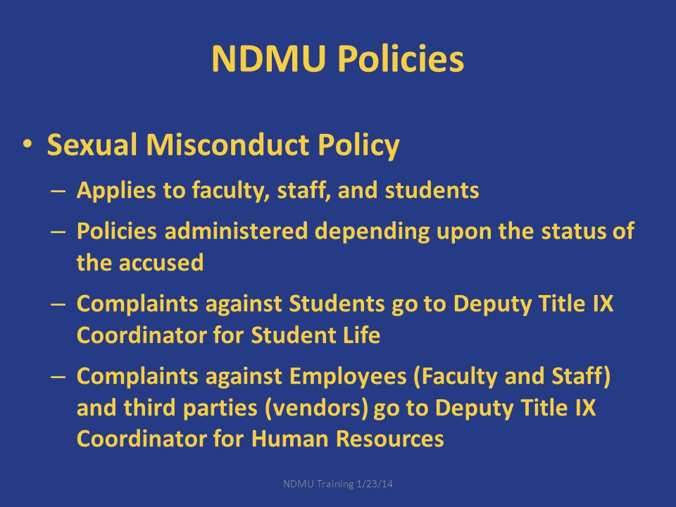 NDMU Policies Sexual Misconduct Policy