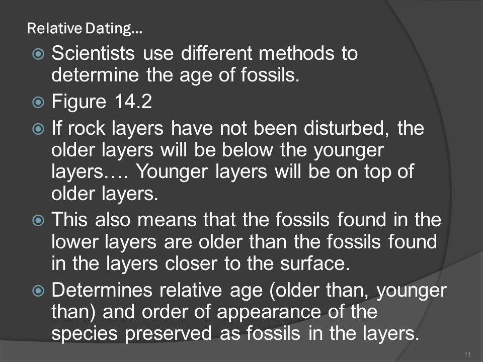 Scientists use different methods to determine the age of fossils.