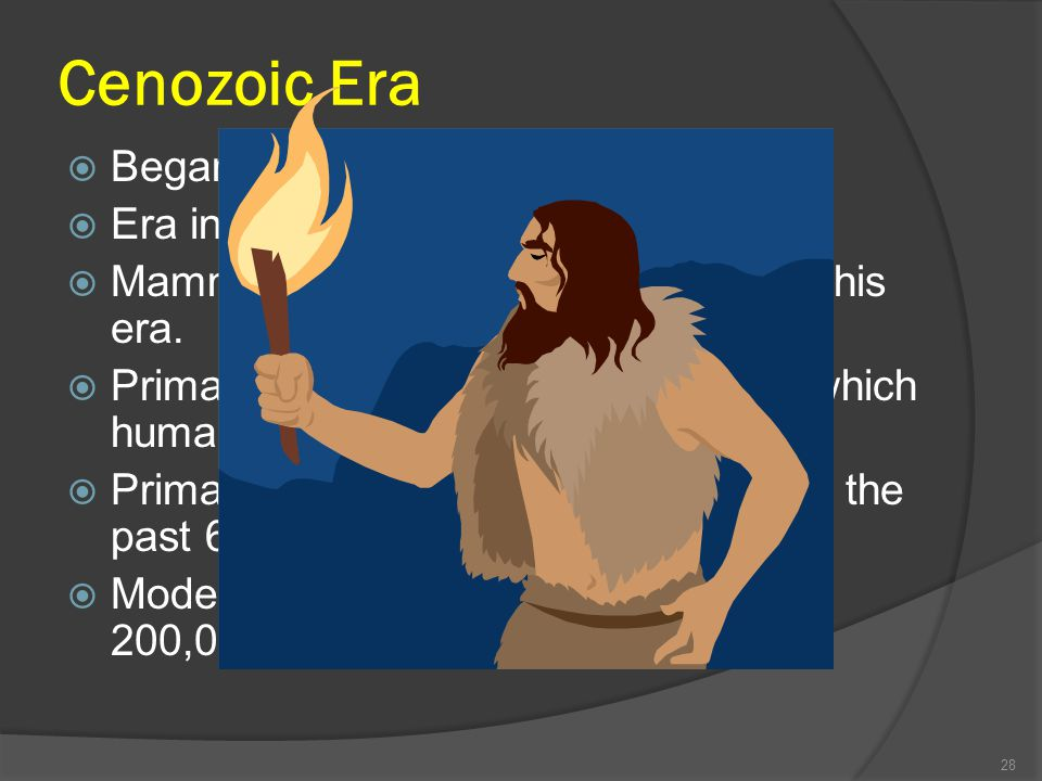 Cenozoic Era Began about 65 million years ago.