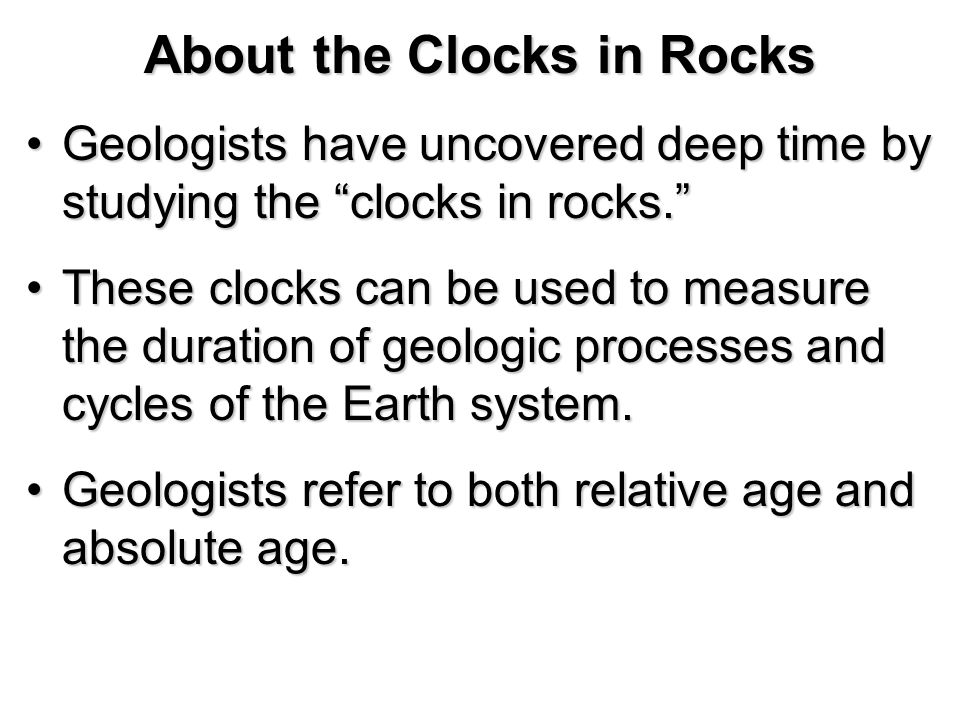 About the Clocks in Rocks