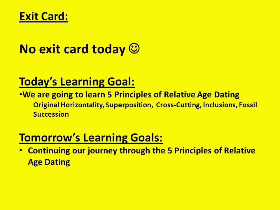 No exit card today  Exit Card: Today's Learning Goal: