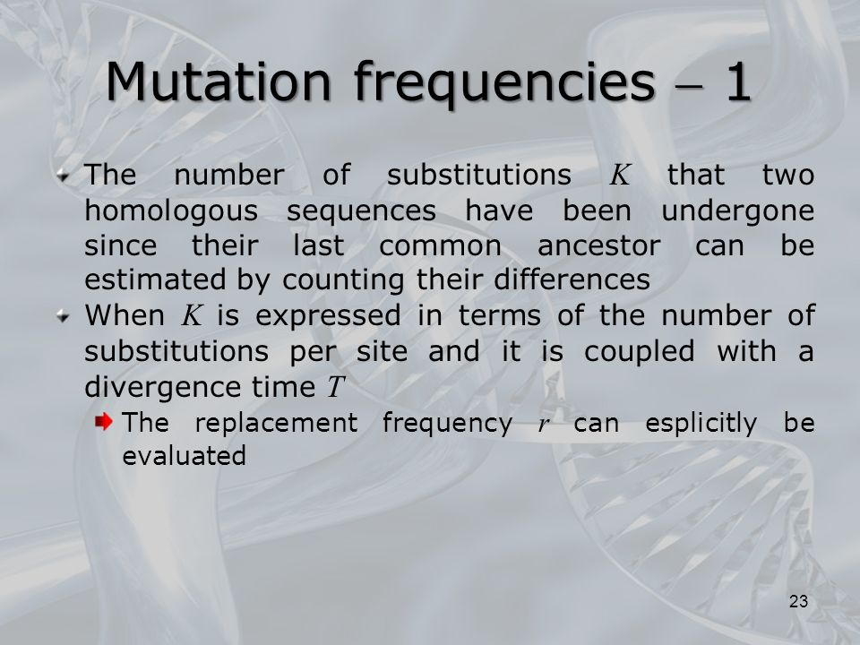 Mutation frequencies  1