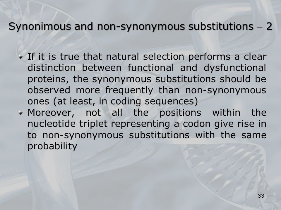 Synonimous and non-synonymous substitutions  2
